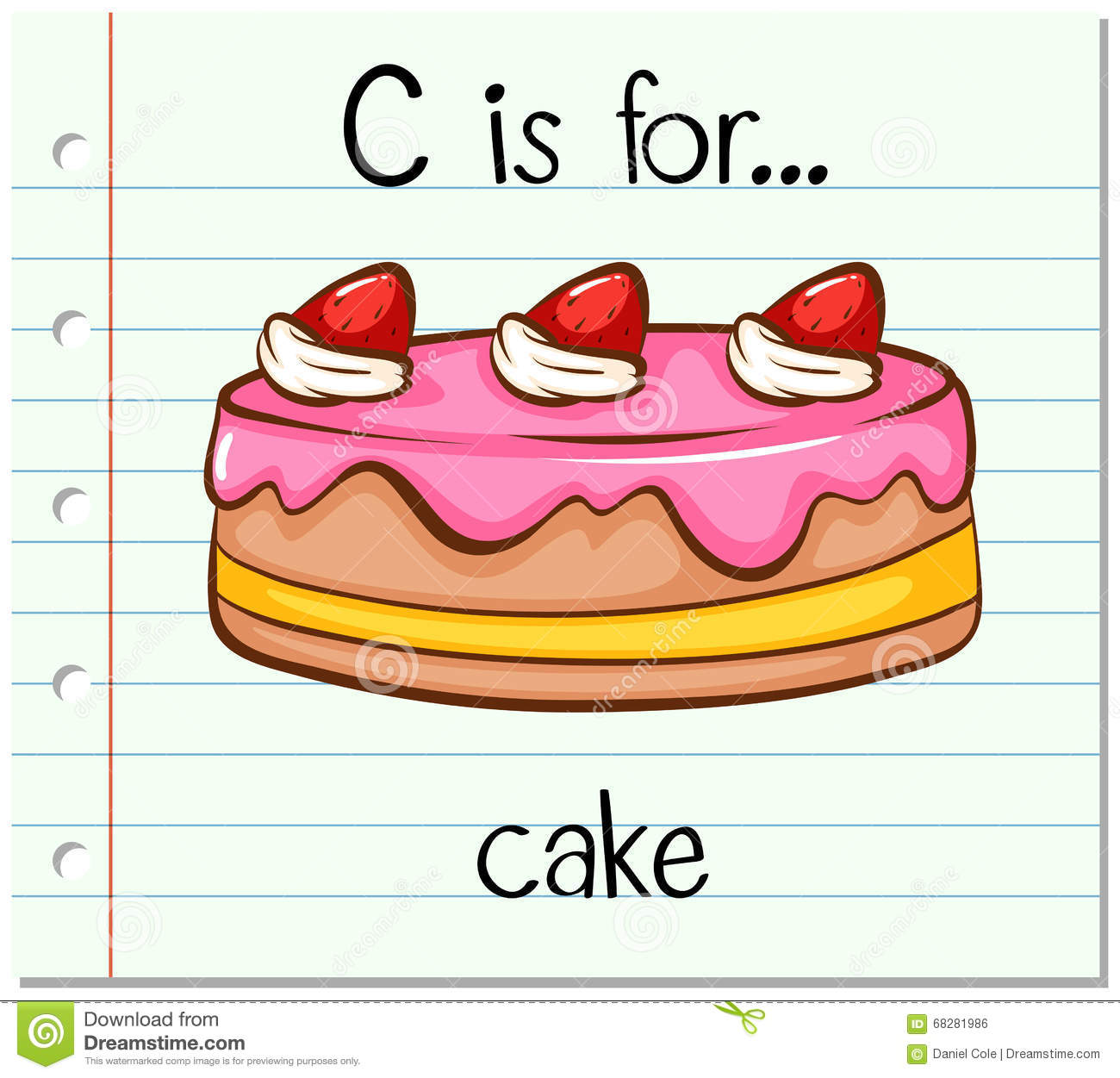 Flashcard Letter C Is For Cake Stock Vector