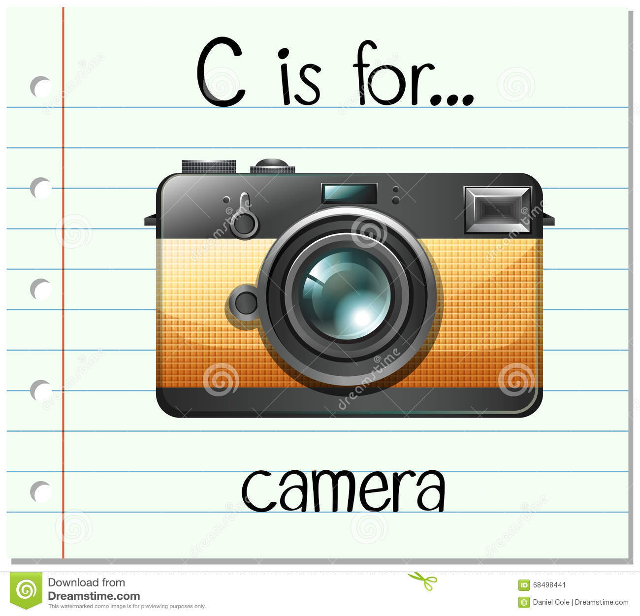 Flashcard Letter C Is For Camera Royalty-Free Cartoon ...