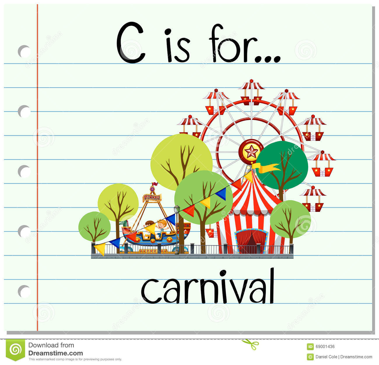 Flashcard Letter C Is For Carnival Stock Vector