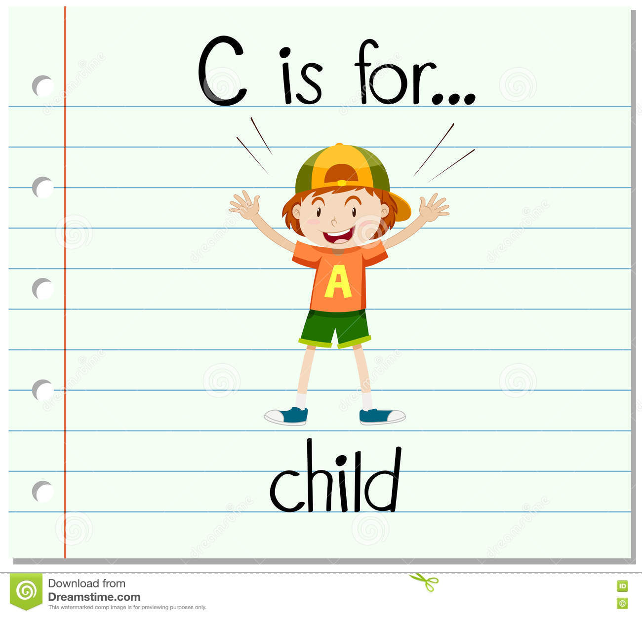 Flashcard Letter C Is For Child Stock Vector