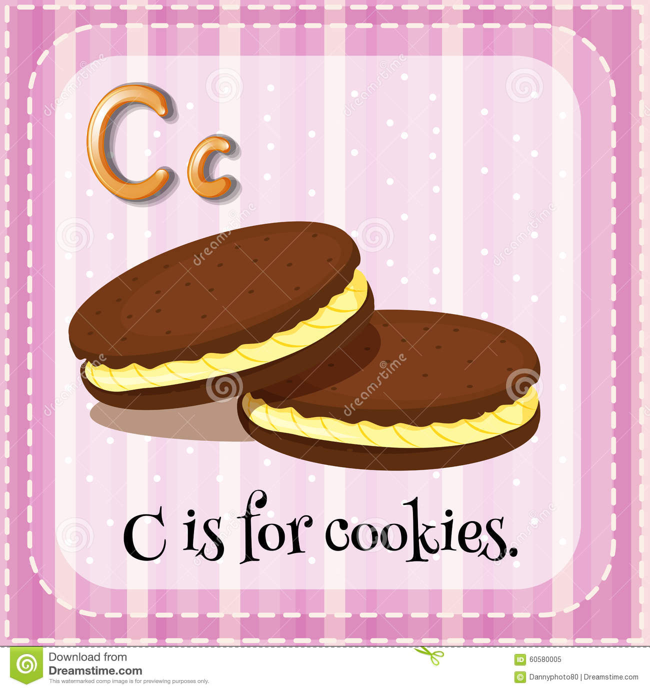 Flashcard Letter C Is For Cookies Stock Illustration