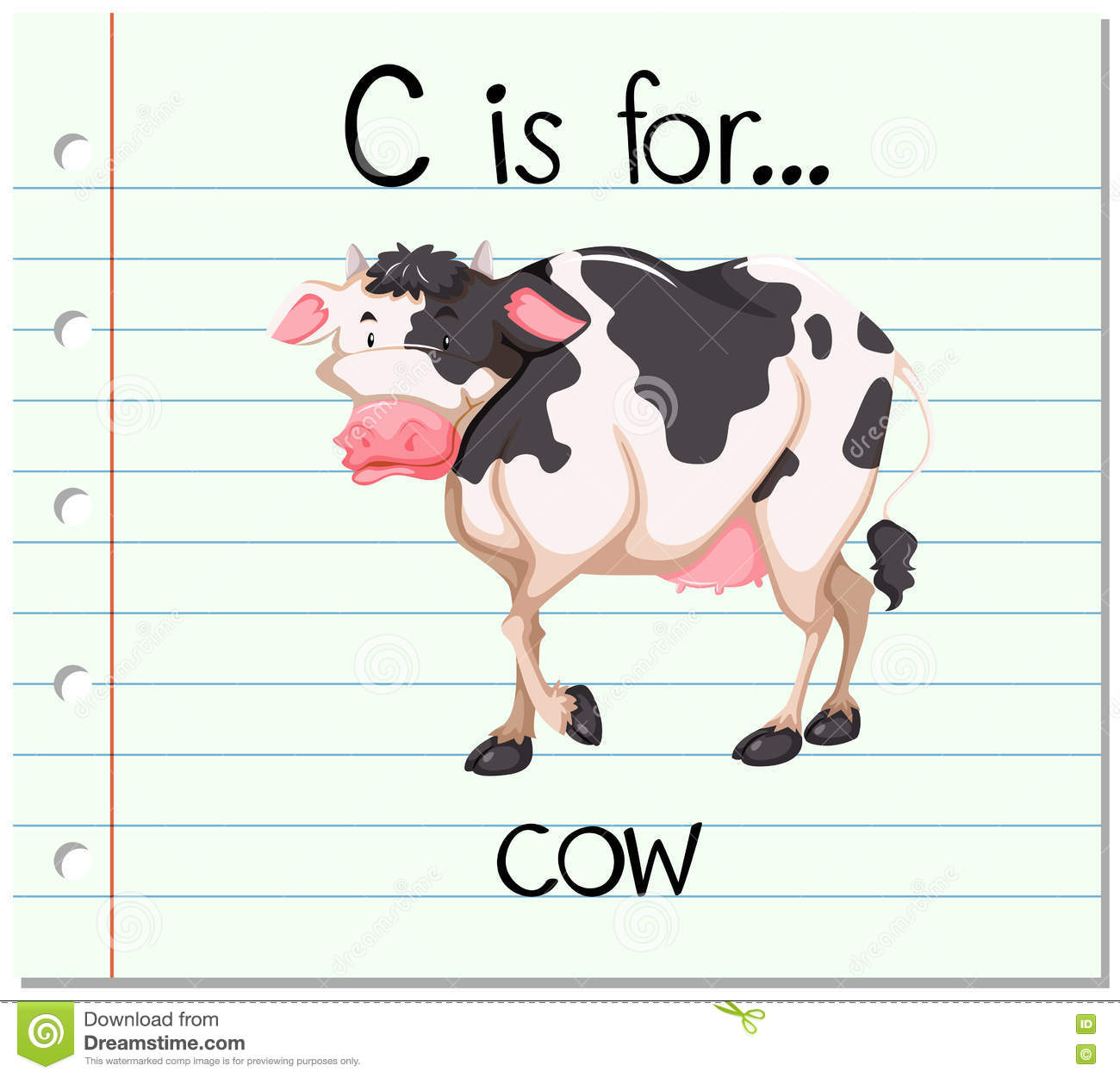Flashcard Letter C Is For Cow Stock Vector