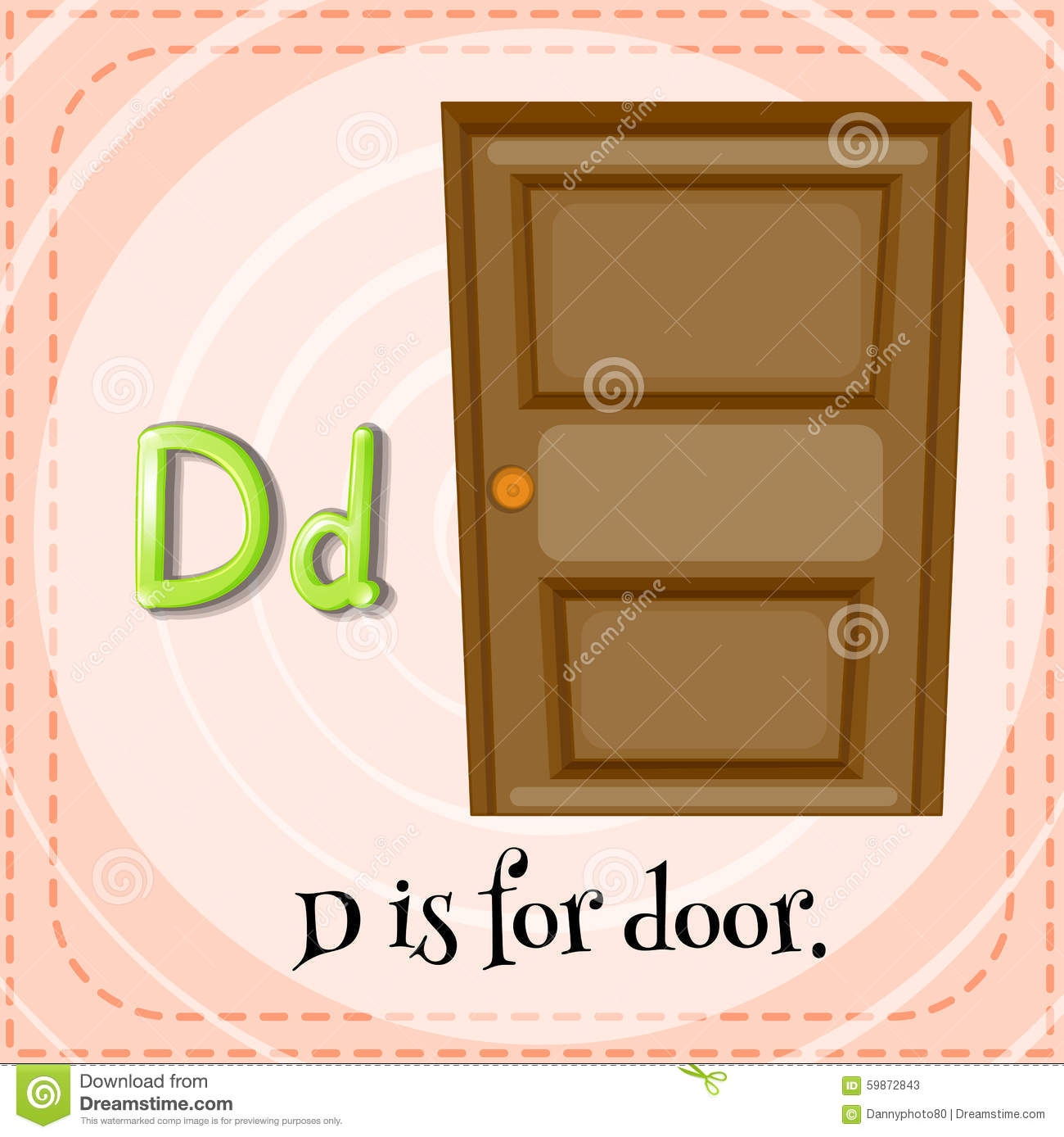 flashcard letter d door illustration 59872843