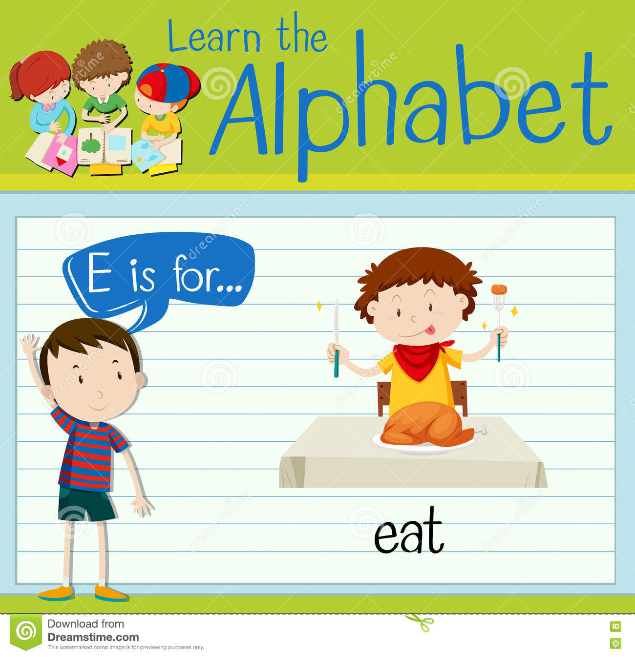 flashcard letter e is for eat stock vector - illustration of clipart