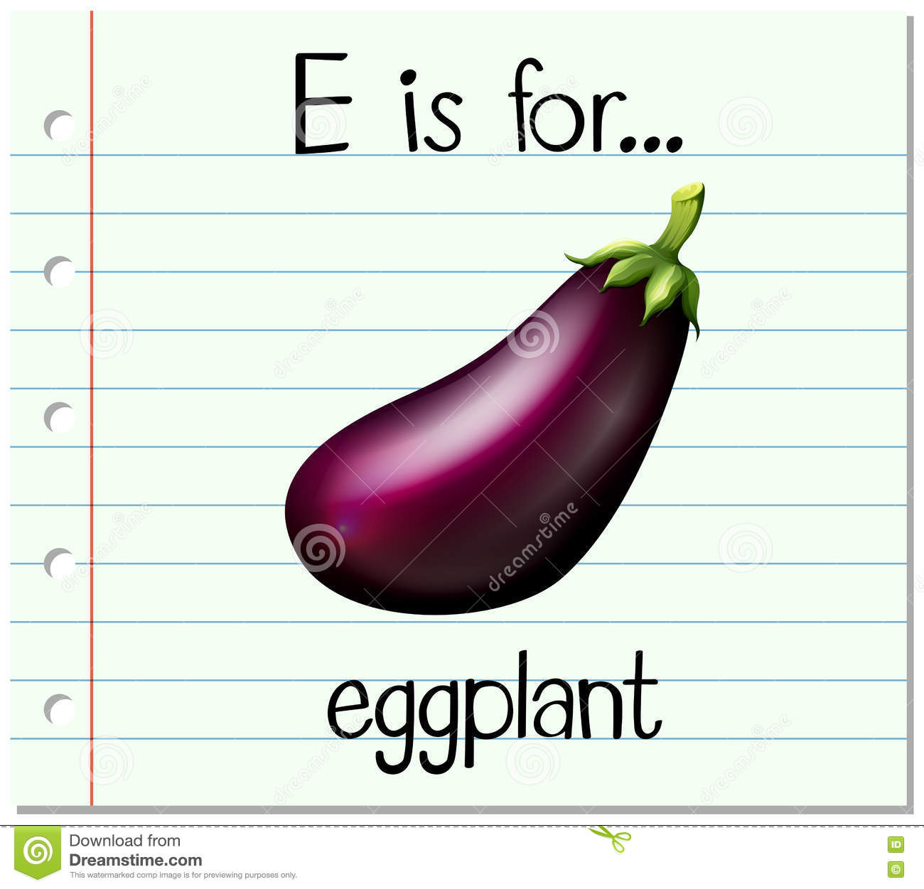 Flashcard Letter E Is For Eggplant Stock Vector - Image ...