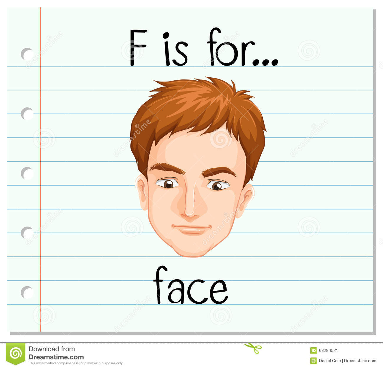 Free Worksheets xl worksheet : Flashcard Letter F Is For Face Stock Vector - Image: 68284521