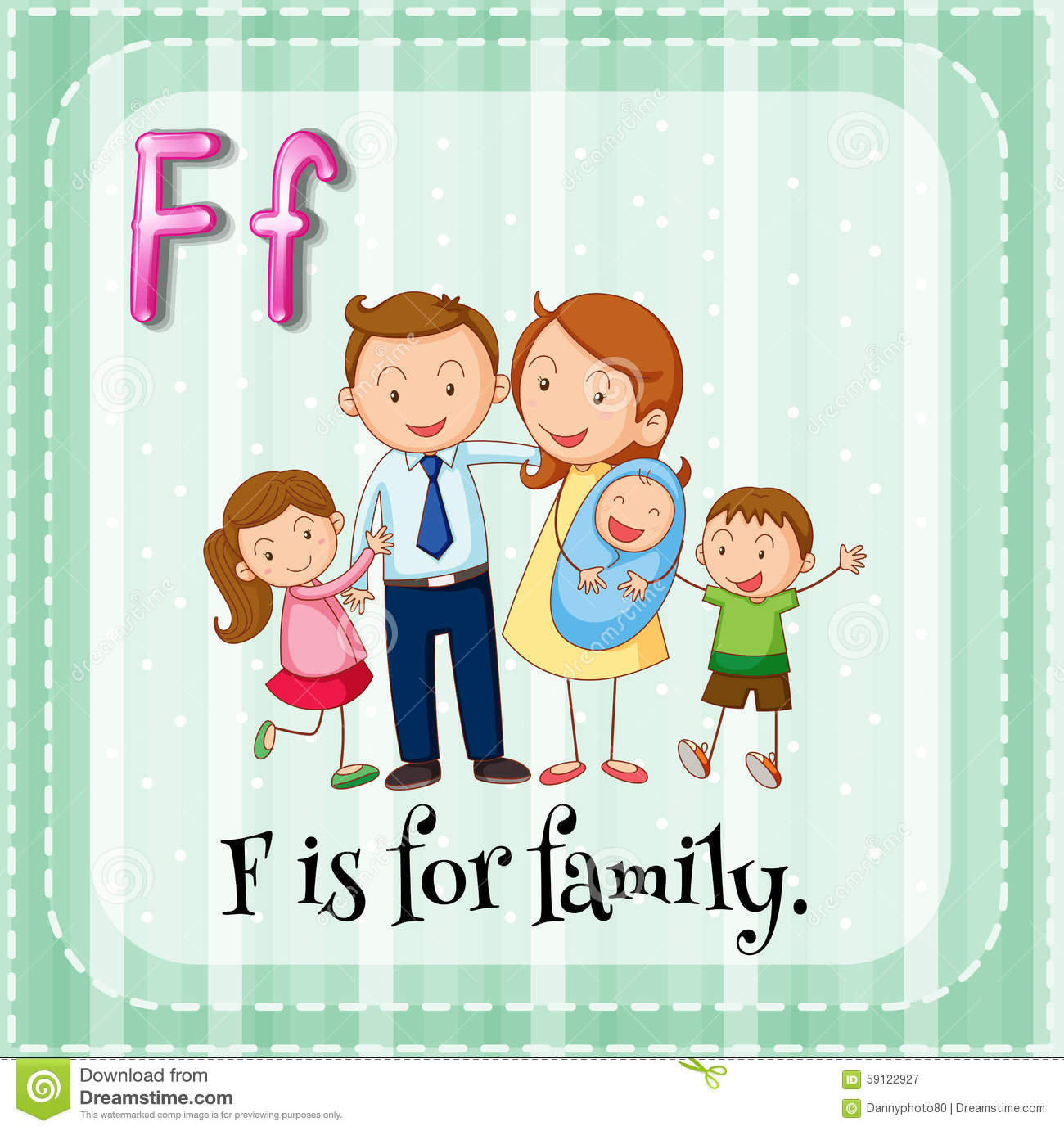 letter f flashcard flashcard letter f is for family stock vector image 505