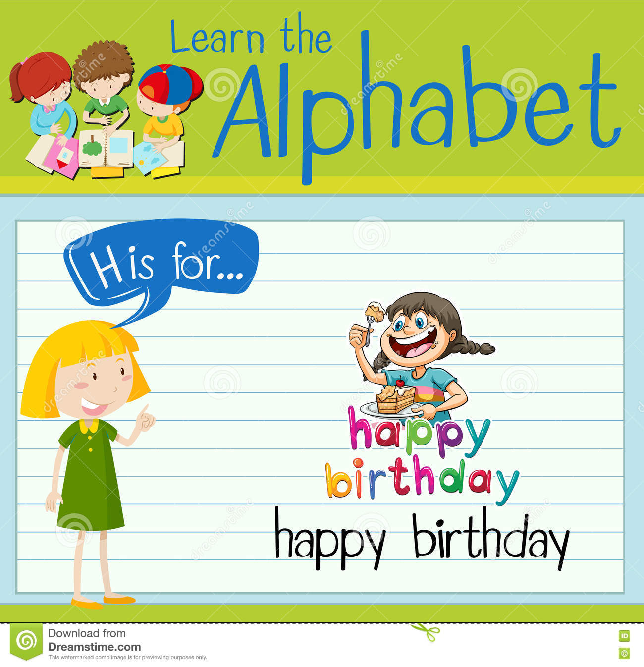 flashcard letter h is for happy birthday