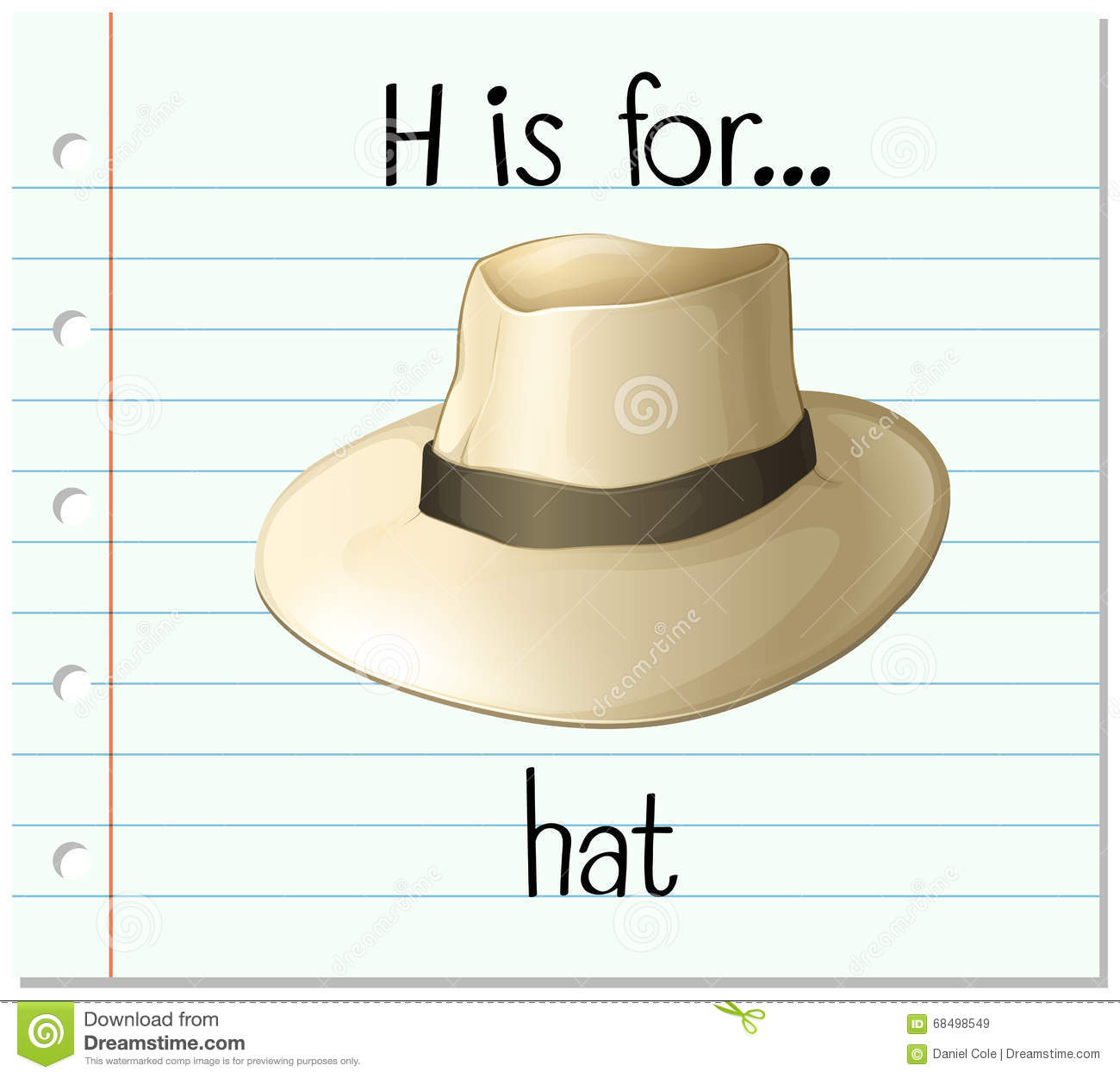 flashcard letter h is for hat