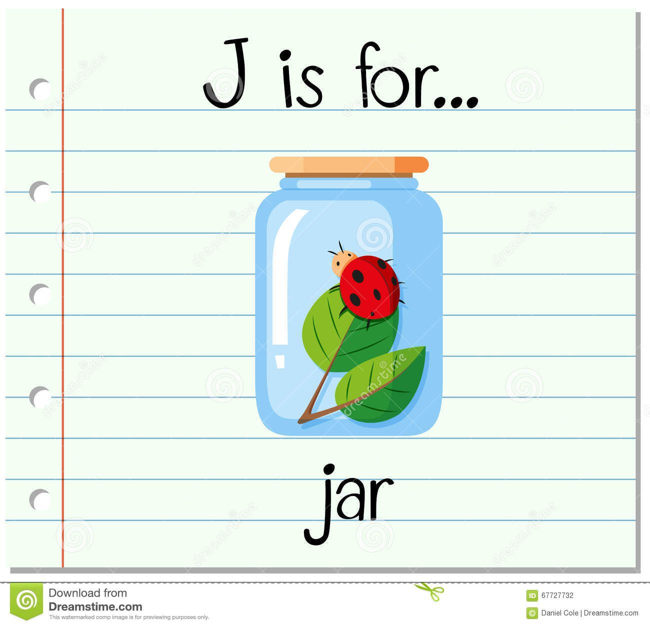 flashcard letter j is for jar stock vector