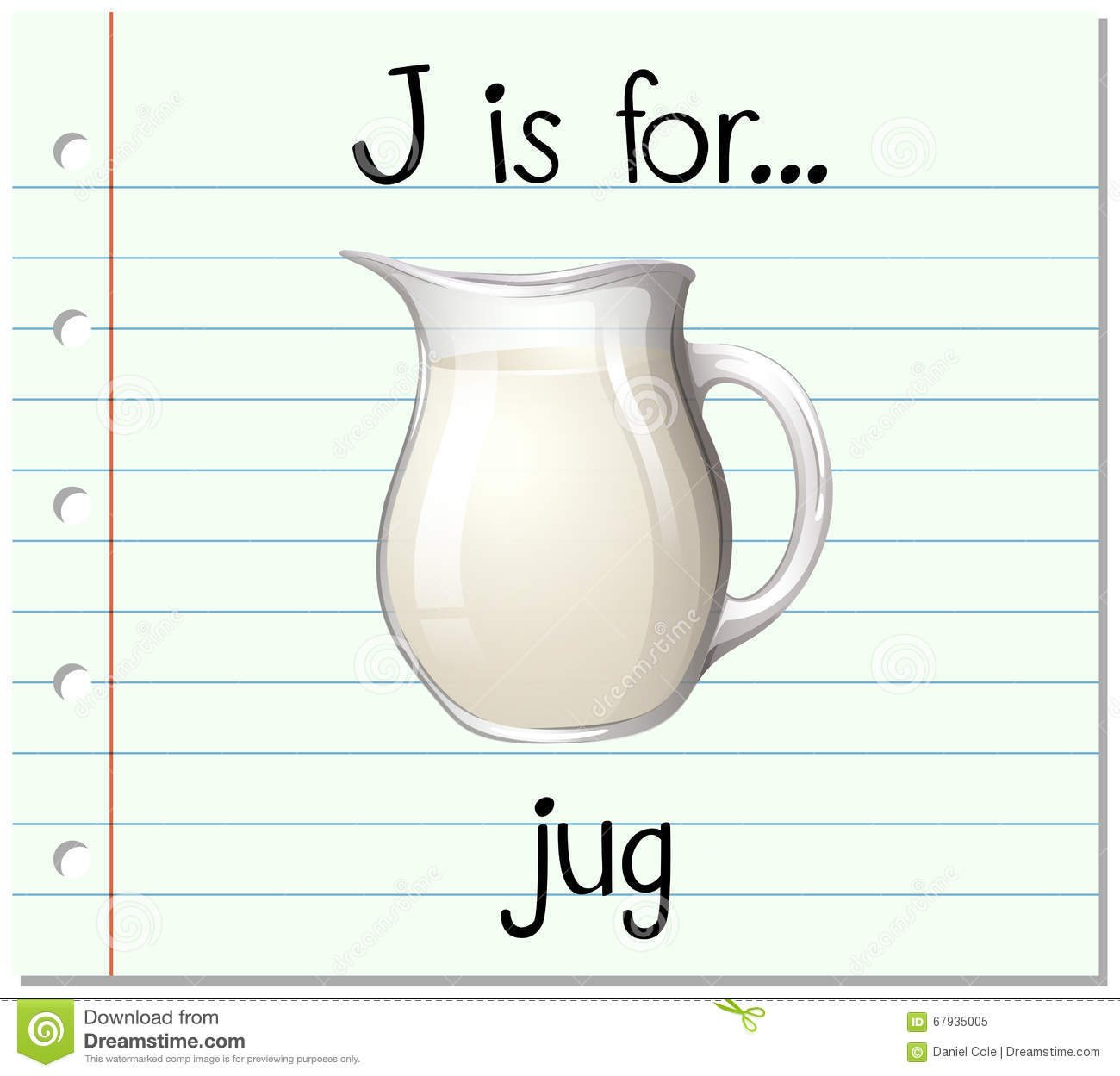 flashcard letter j jug illustration 67935005