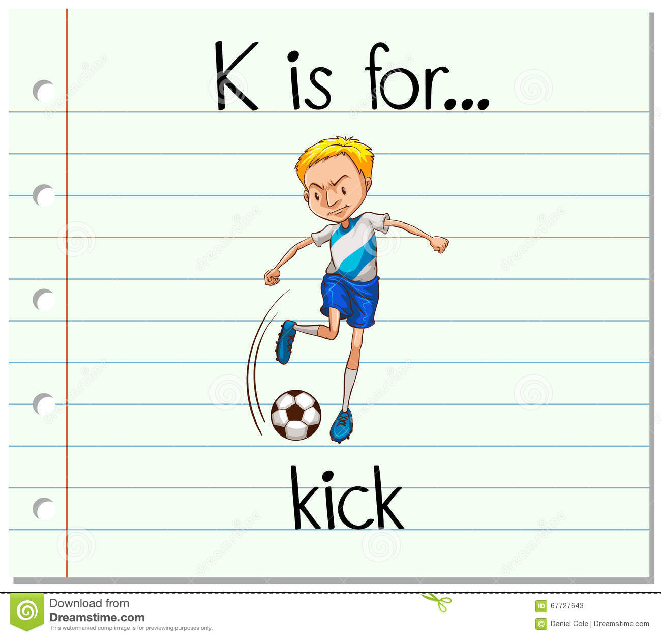 Download Flashcard Letter K Is For Kick Stock Vector