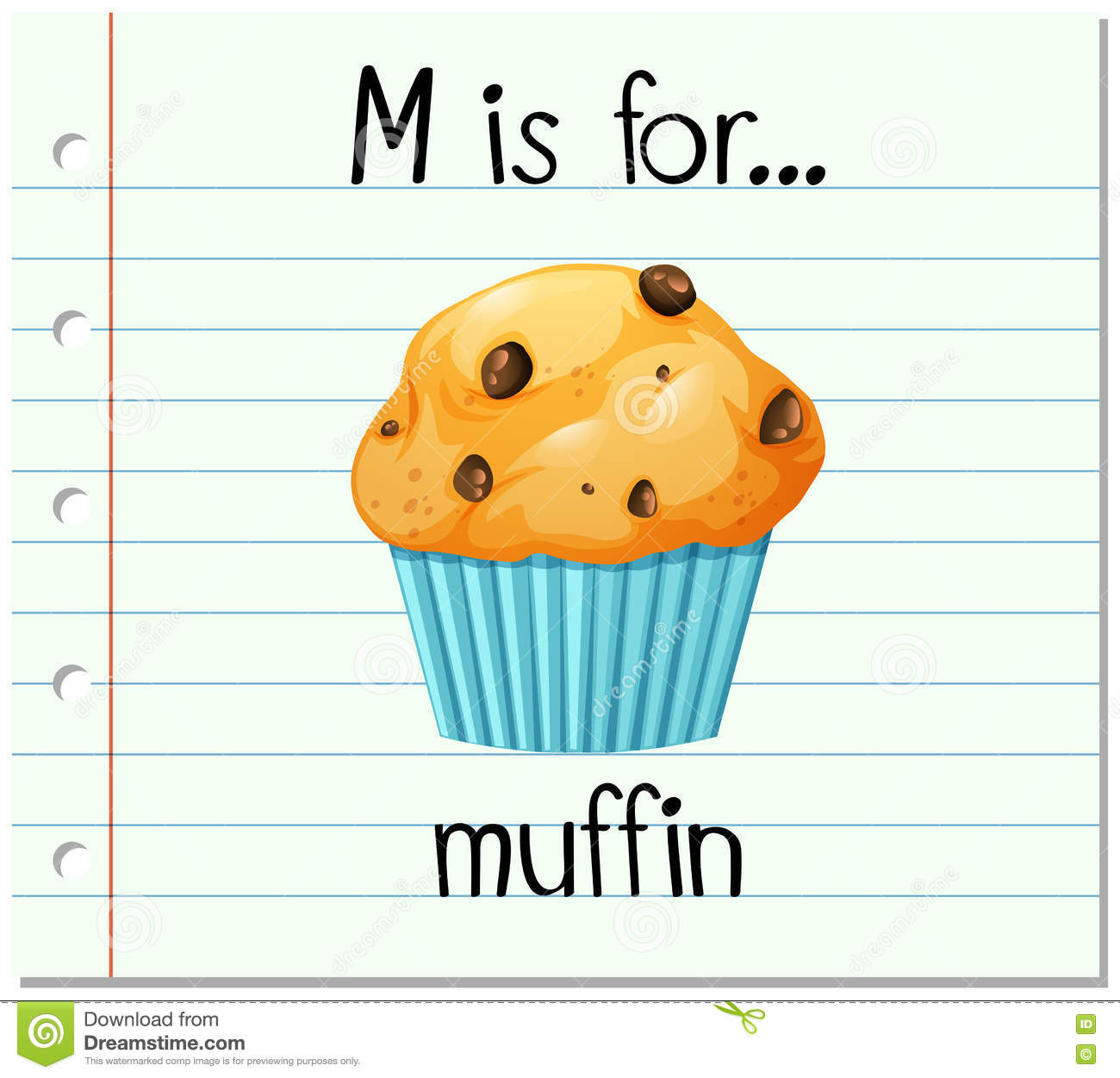 flashcard letter m is for muffin stock vector