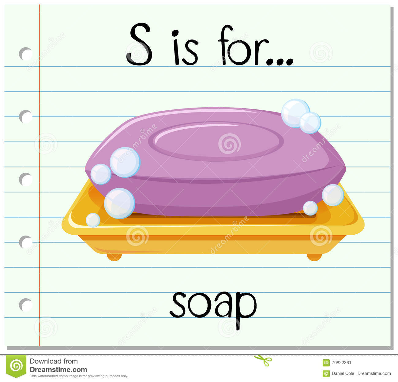 Flashcard Letter S Is For Soap Stock Vector