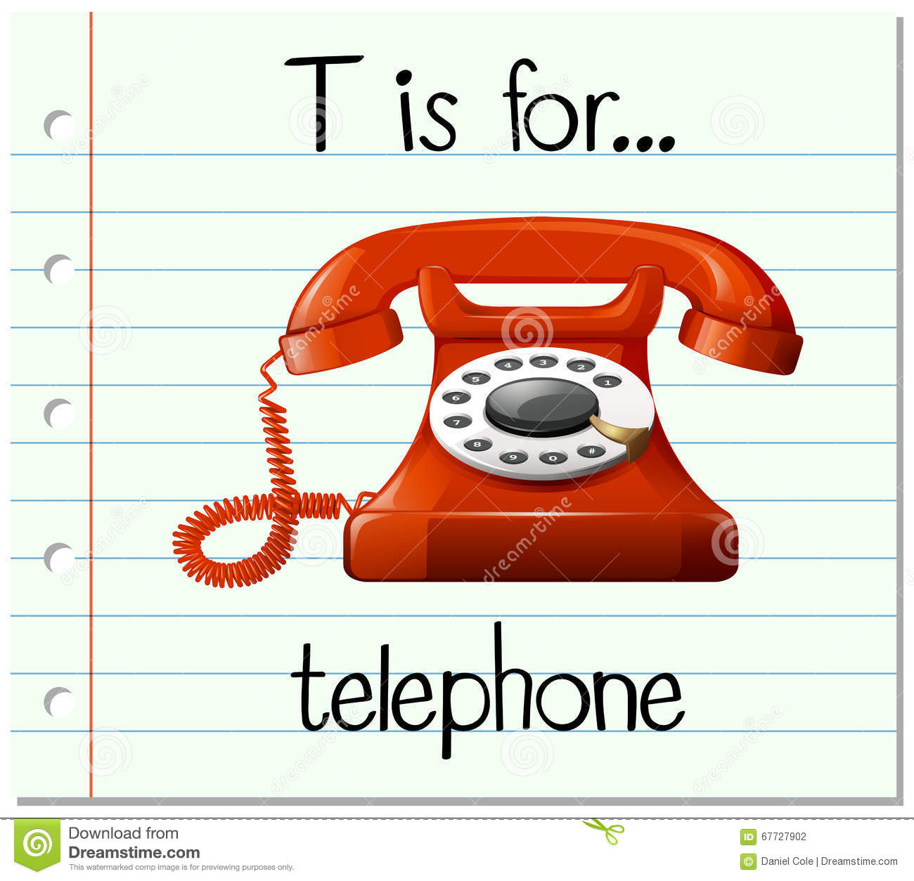 Flashcard Letter T Is For Telephone Stock Vector - Image: 67727902