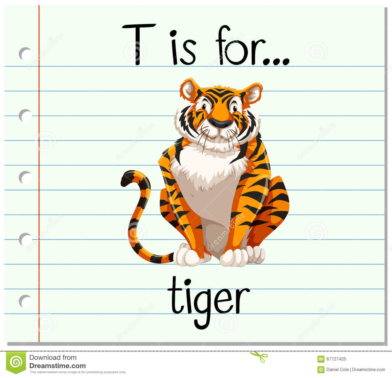 flashcard letter t is for tiger stock vector image 67727425 flash clip art images flash clipart png
