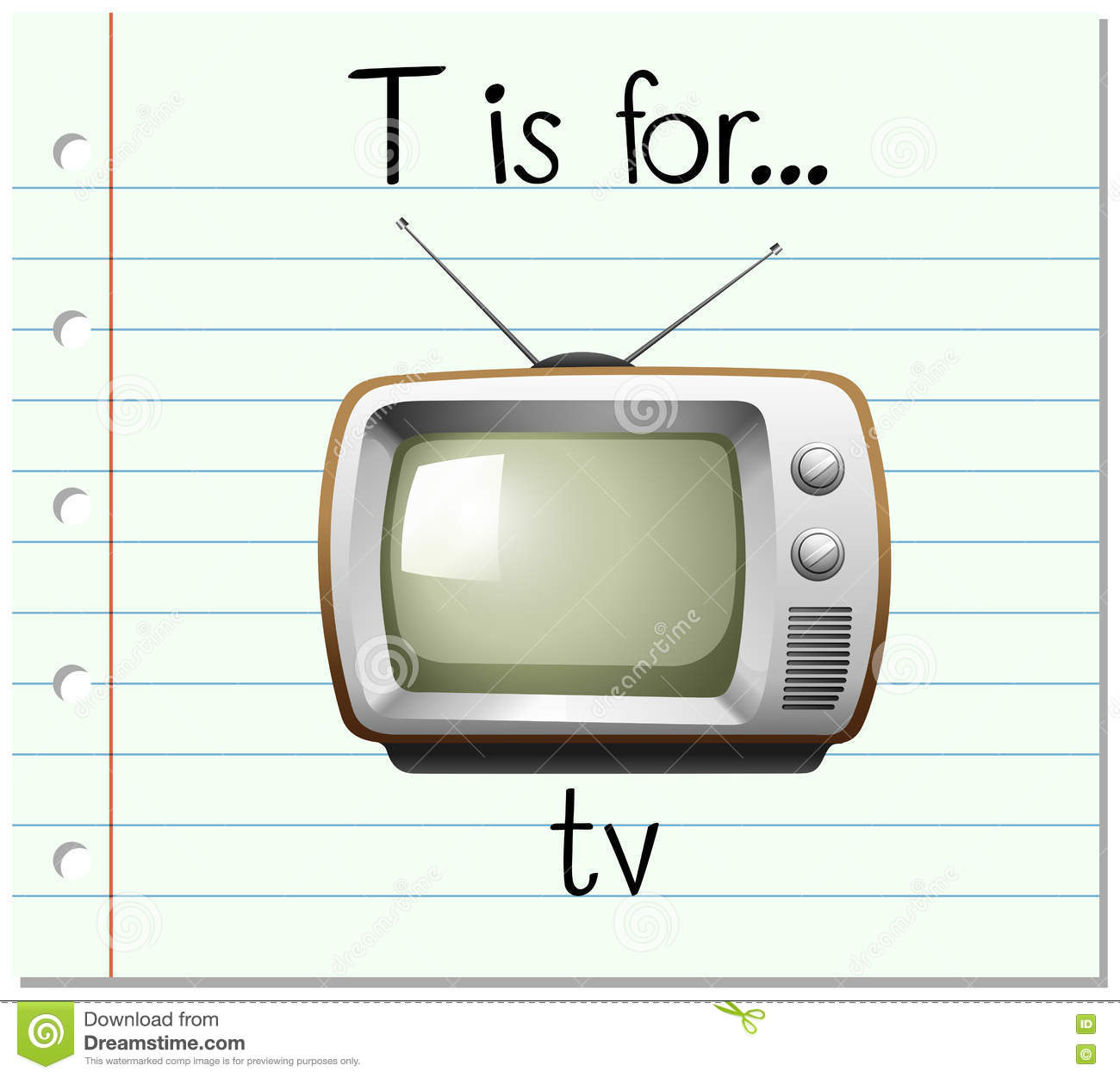 What Time Is It On What Tv: Flashcard Letter T Is For TV Stock Vector