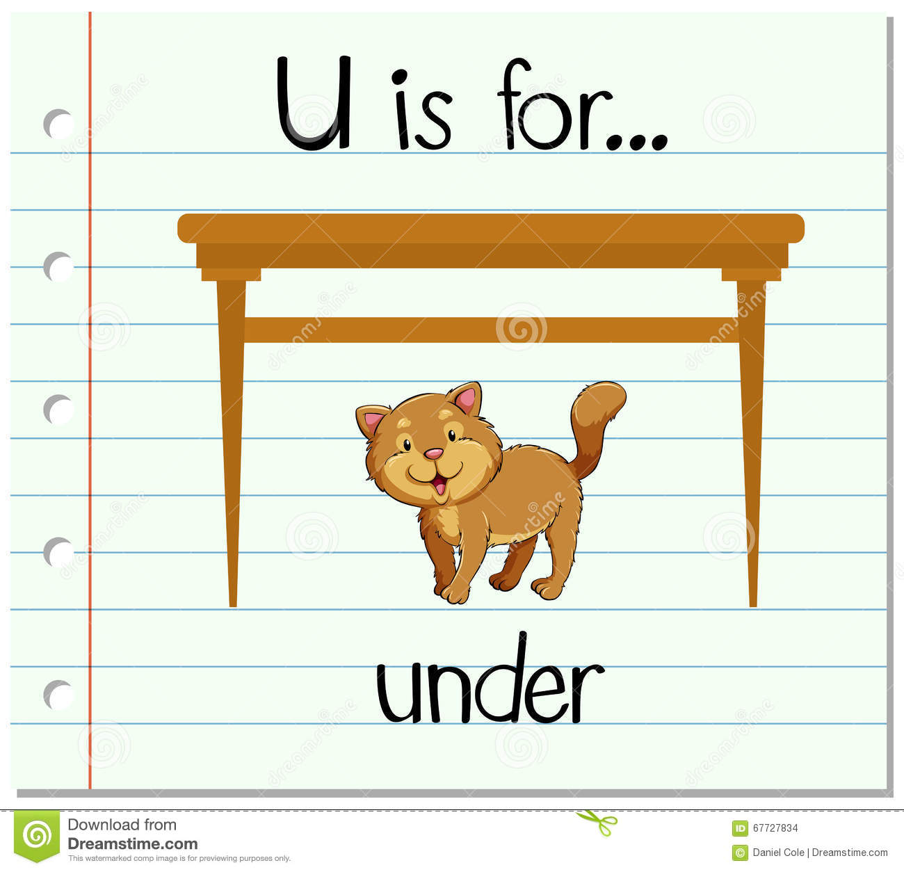 Flashcard Letter U Is For Under Stock Vector
