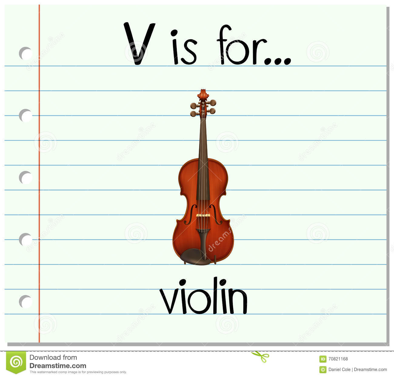 V Is For Violin Flashcard Letter V Is ...