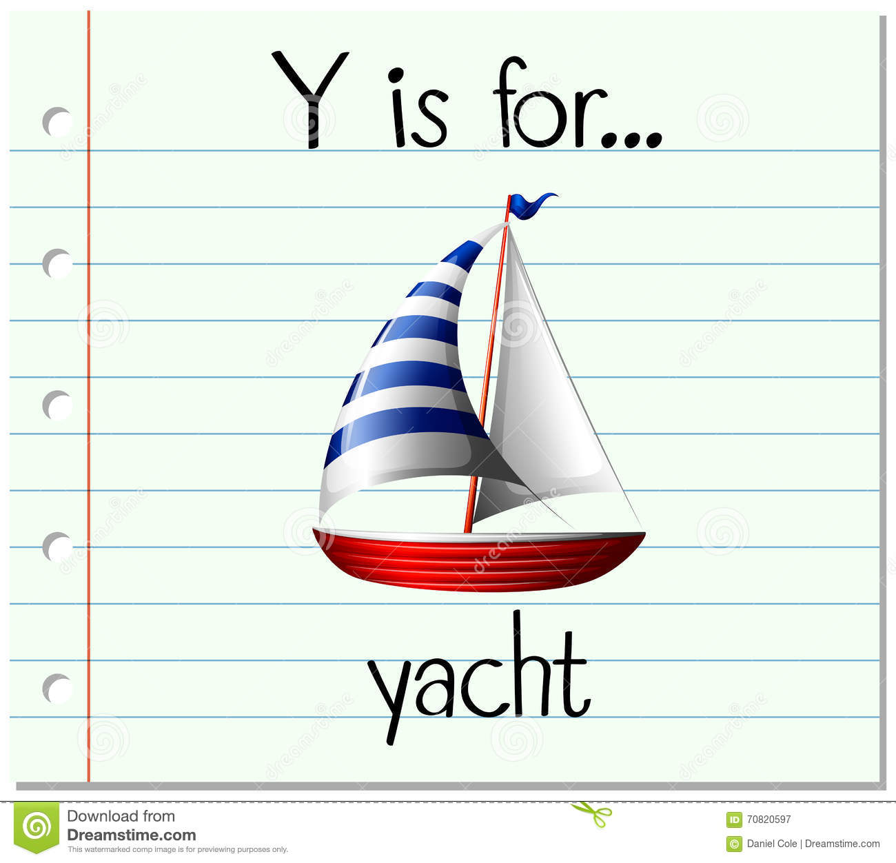 Stock Illustration Flashcard Letter Y Yacht Illustration Image70820597 on What To Write In Thank You Cards Writing