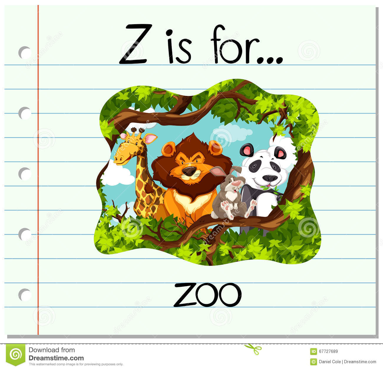 Flashcard Letter Z Is For Zoo Stock Vector - Image: 67727689
