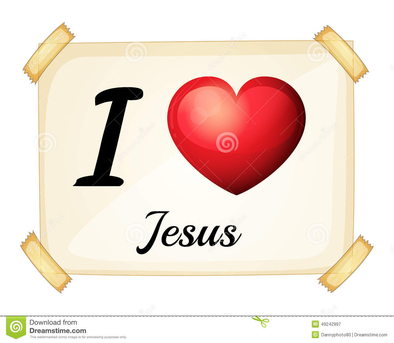 Showing Love: A Flashcard Showing The Love Of Jesus Stock Vector