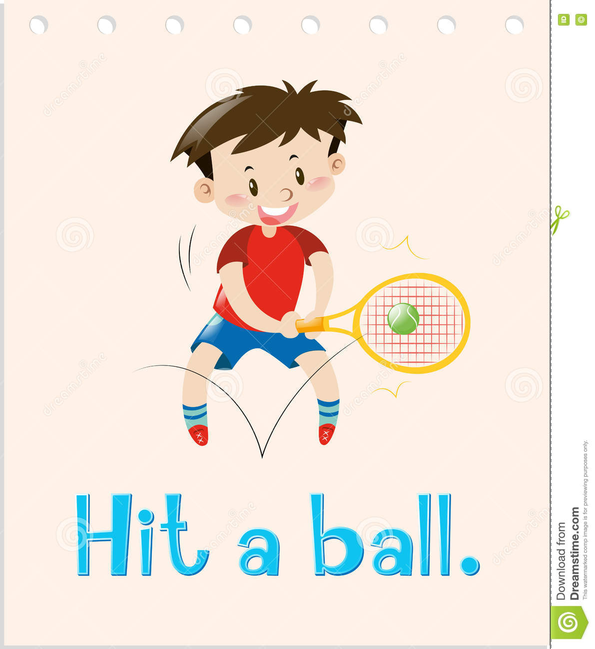 Flashcard With Word Hit A Ball Stock Illustration