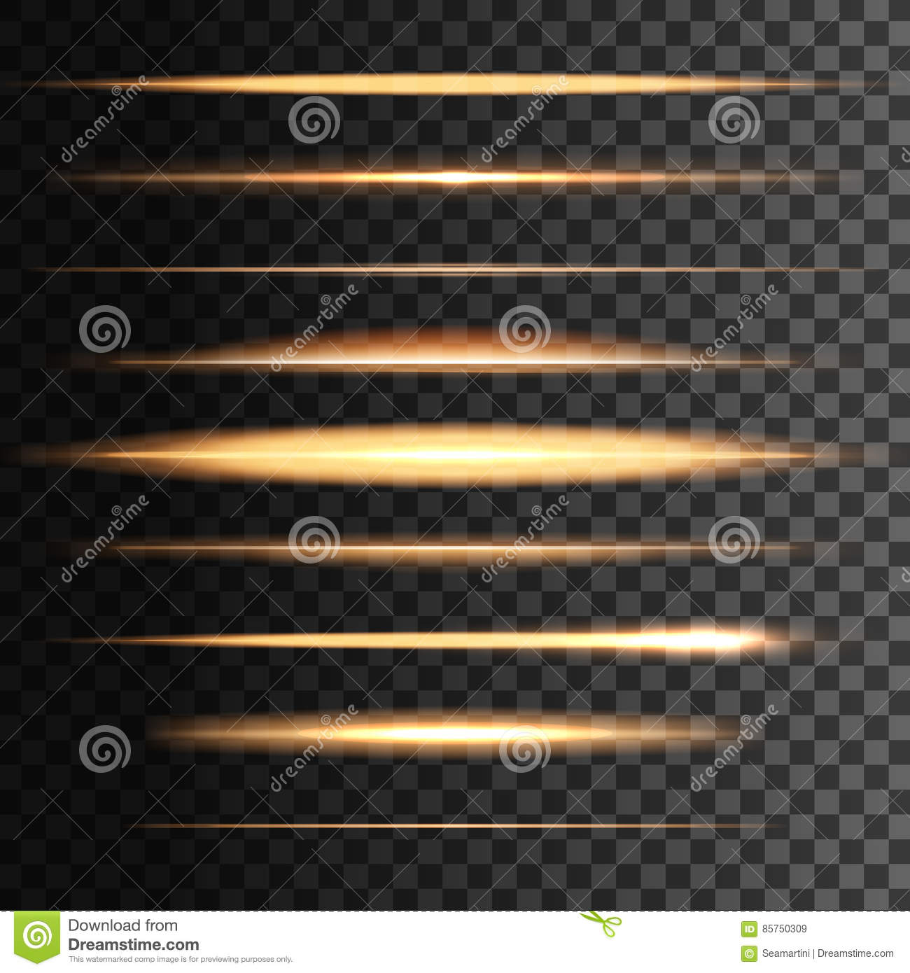 Flashes light golden lines, vector glowing blur