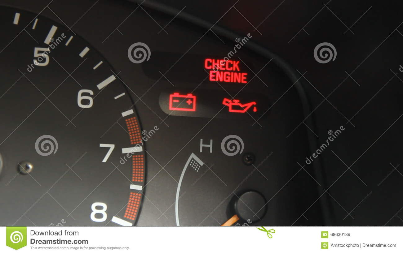Flashing Check Engine Light Sign Warning On Car Dashboard Stock - Car sign on dashboard