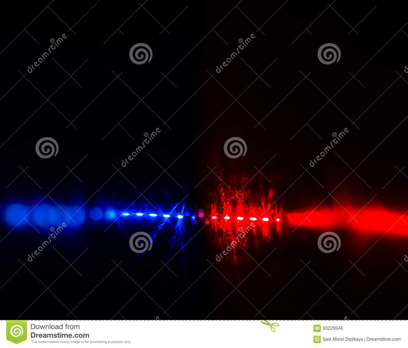 Flashing Red And Blue Police Car Lights In Night Time