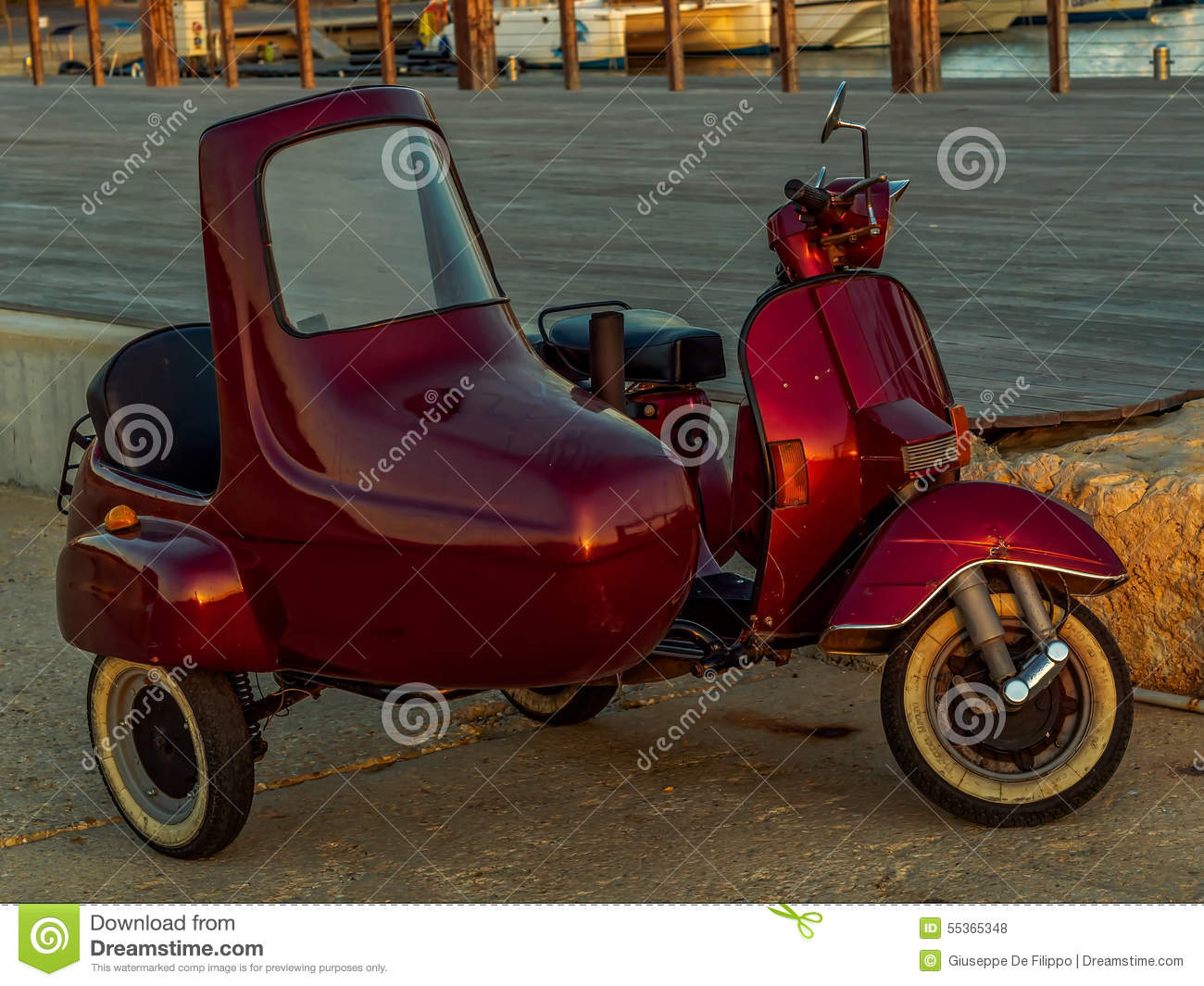 Flashing Red Italian Scooter With Sidecar Stock Photo Image