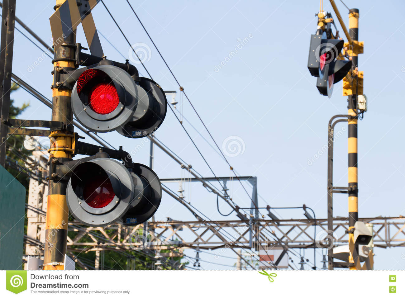 Flashing Signal Of The Level Crossing Stock Image Wire Traffic Light Wiring Is