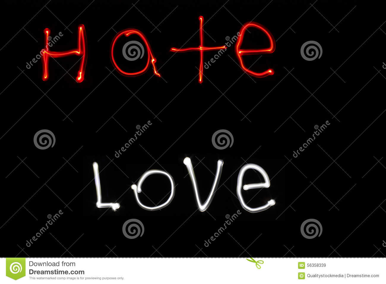 Flashlight Writing Hate And Love Stock Image Image Of Love Light