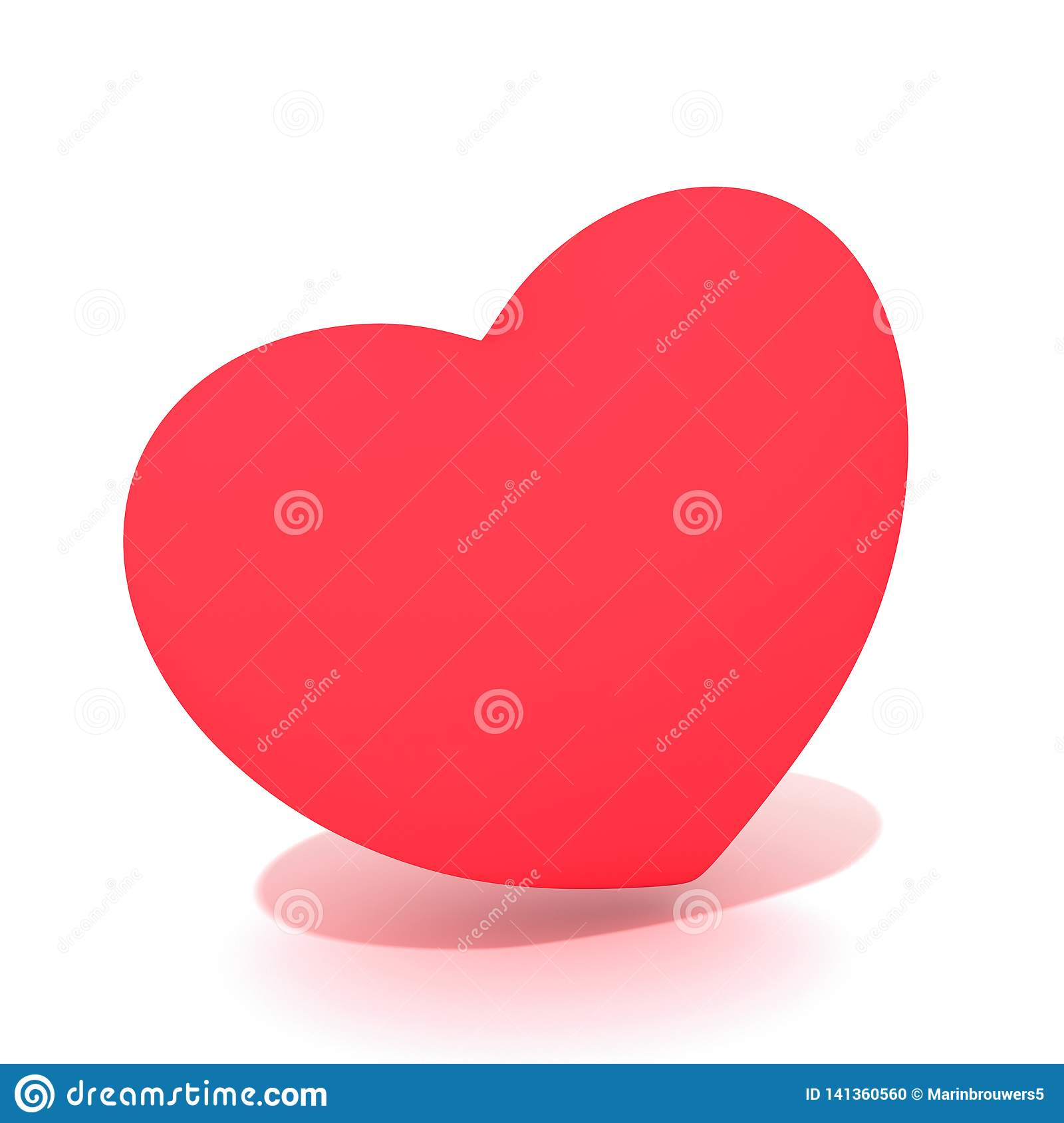 A flashy red 3D heart with shadows.