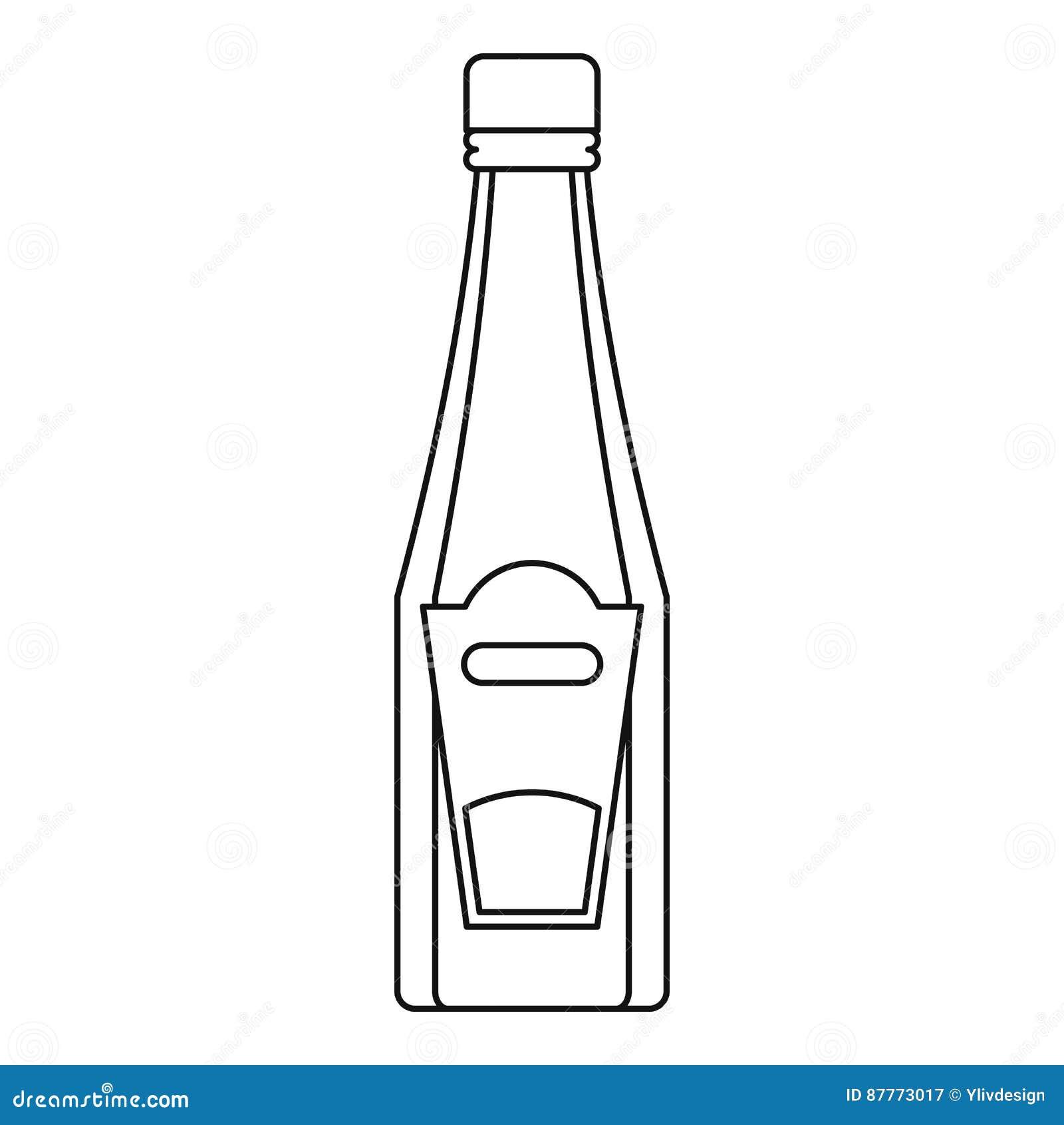Flaska av ketchup- eller senapsymbolen, översiktsstil