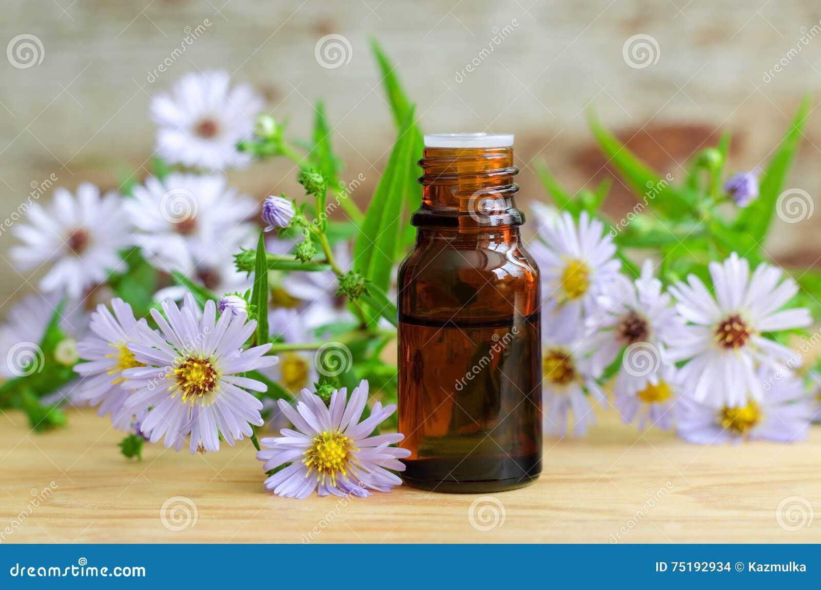 Flaska av nödvändig aromolja (växt- extrakt, tinktur, avkoken)