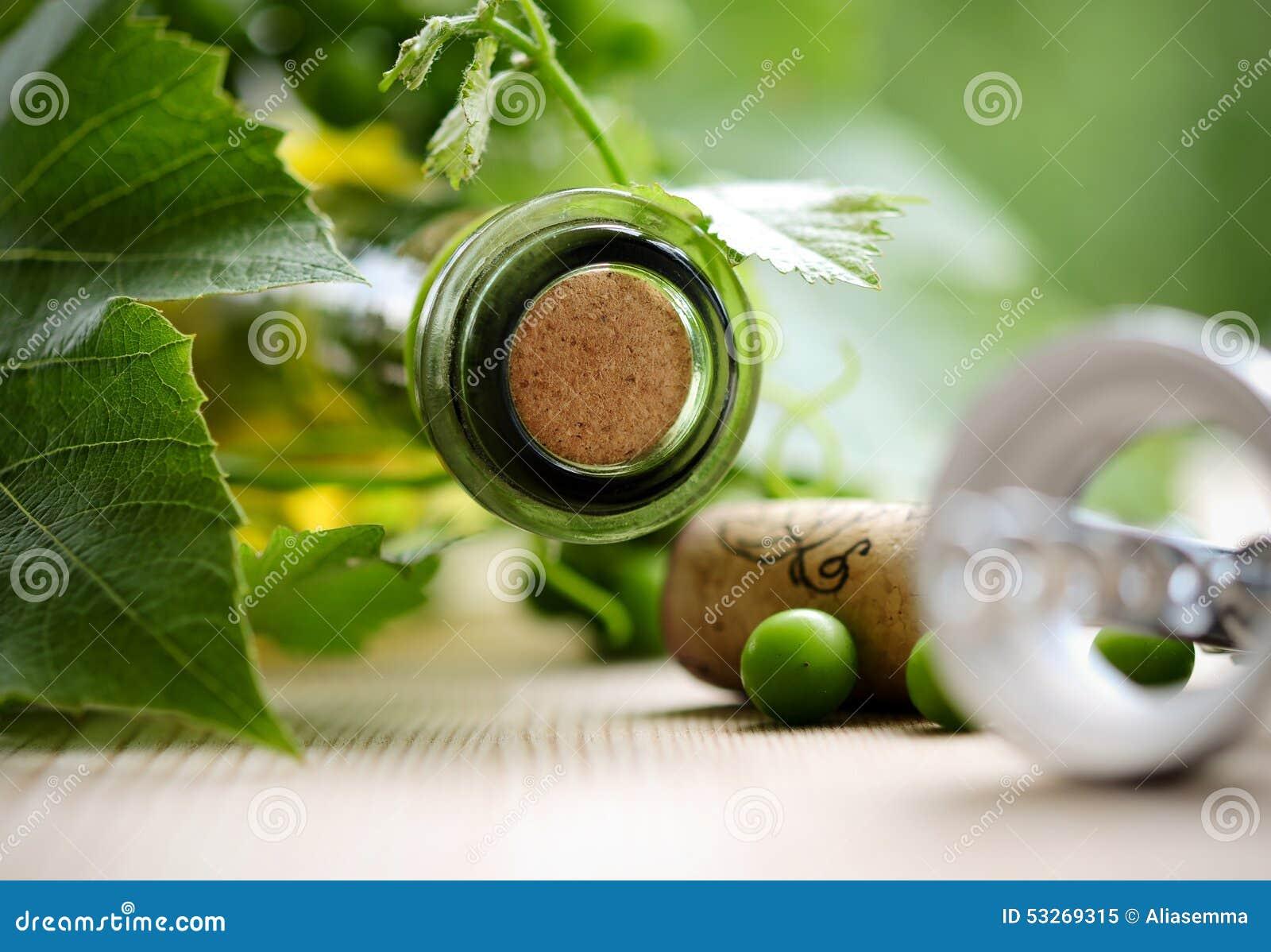 Flaska av vin- och gräsplansidor