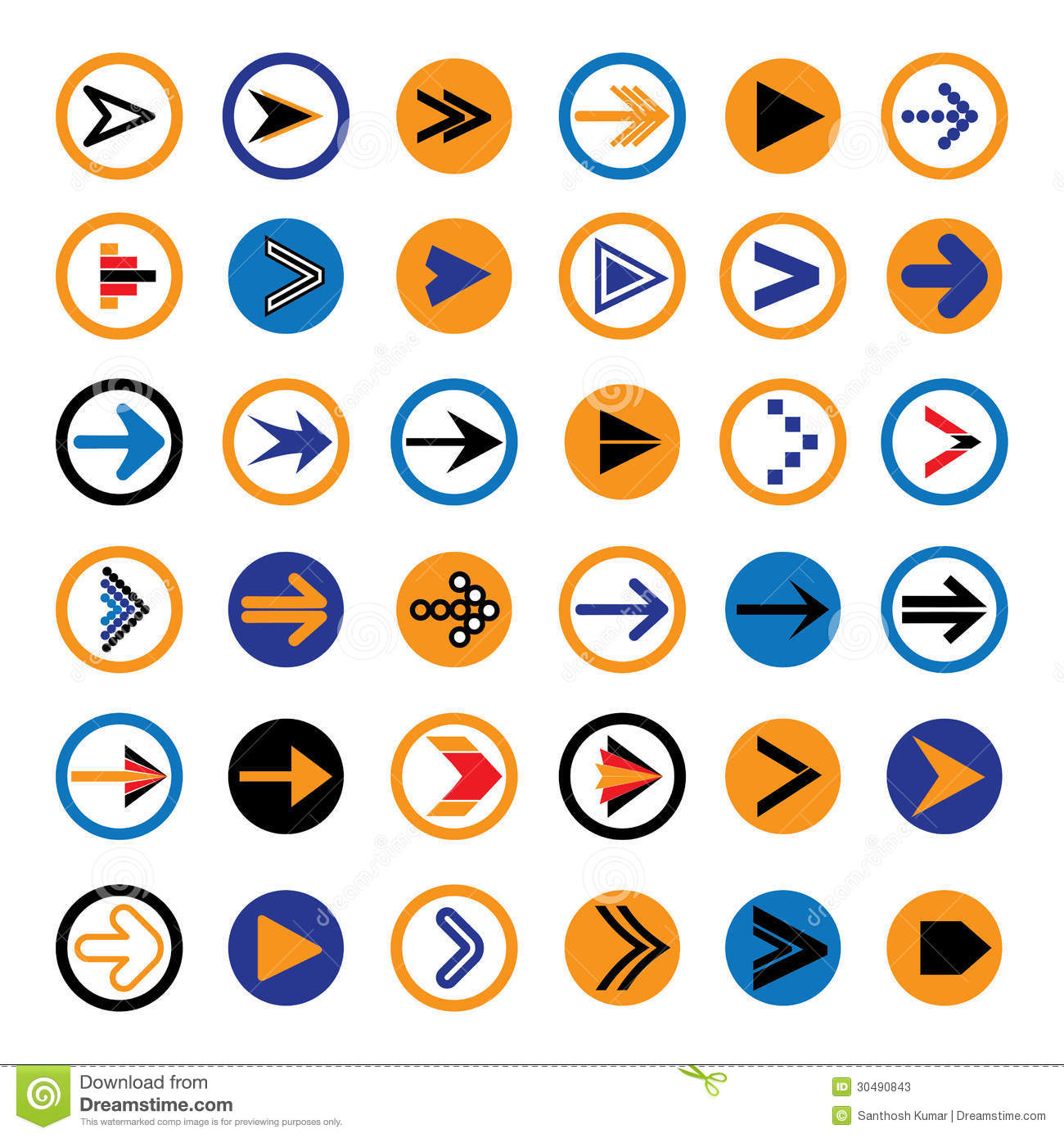 Flat abstract arrows in circles icons, symbols illustration