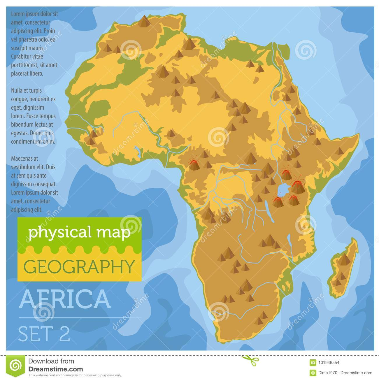 Picture of: Flat Africa Physical Map Constructor Elements On The Water Surface Build Your Own Geography Infographics Collection Stock Vector Illustration Of Cartography Desert 101946554