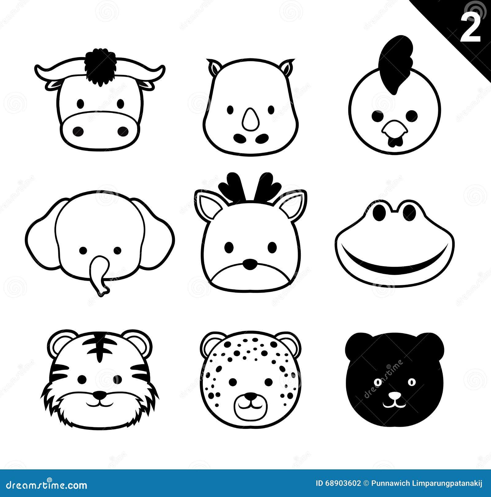 Flat Animal Faces Monochrome Icon Cartoon Vector Set 2 ...