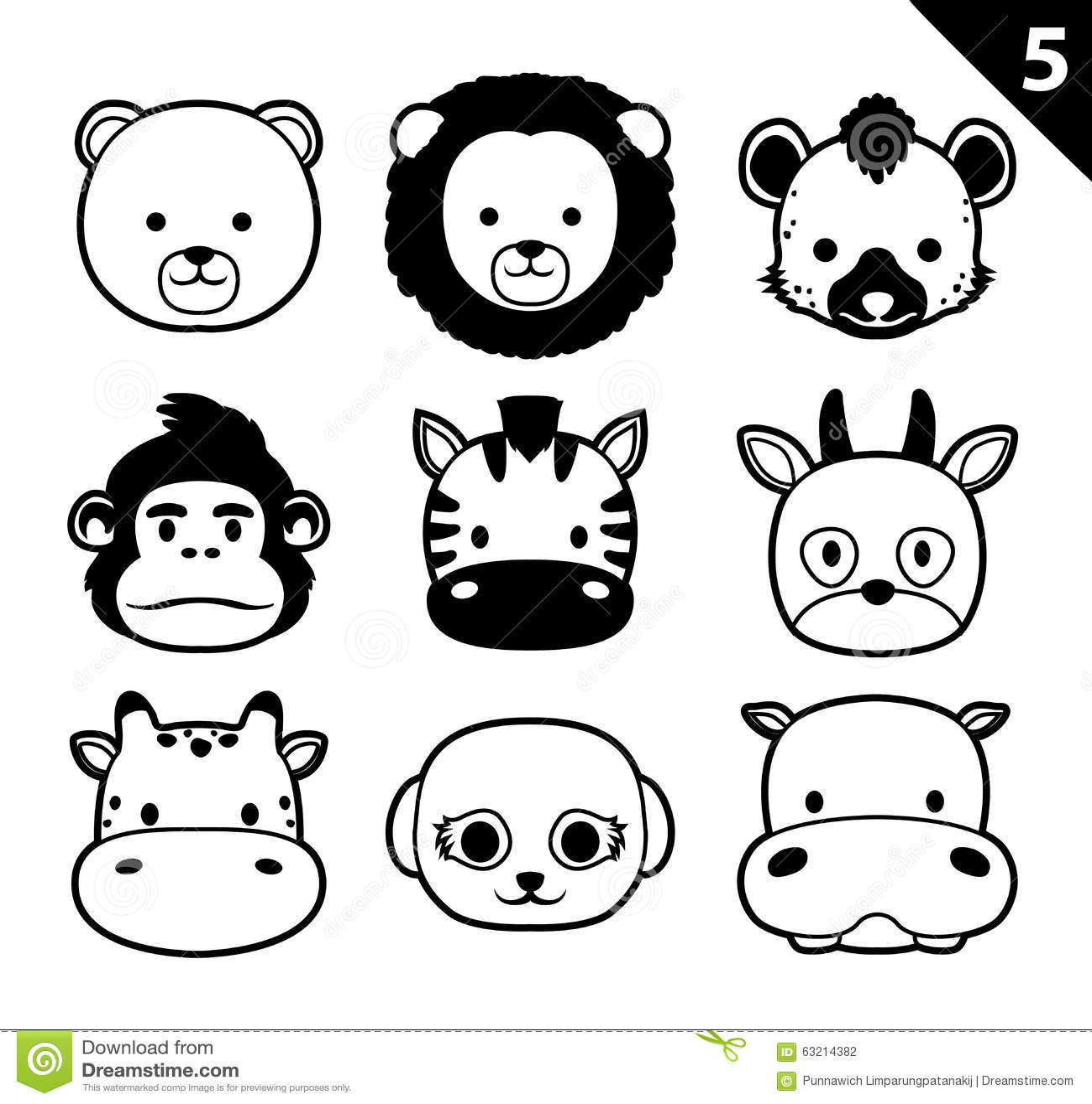 Flat Animal Faces Monochrome Icon Cartoon Vector Set 5 ...
