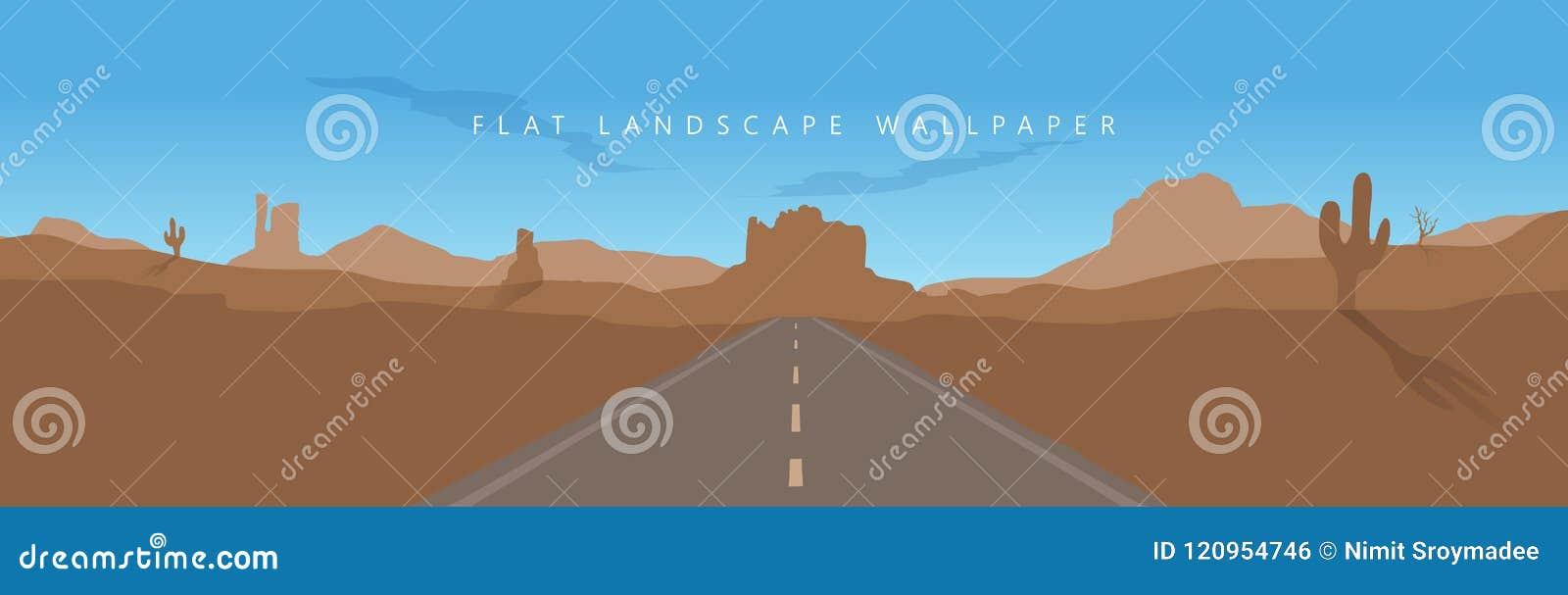 Flat Arizona Landscape Mountain Desert Background Vector Wallpaper