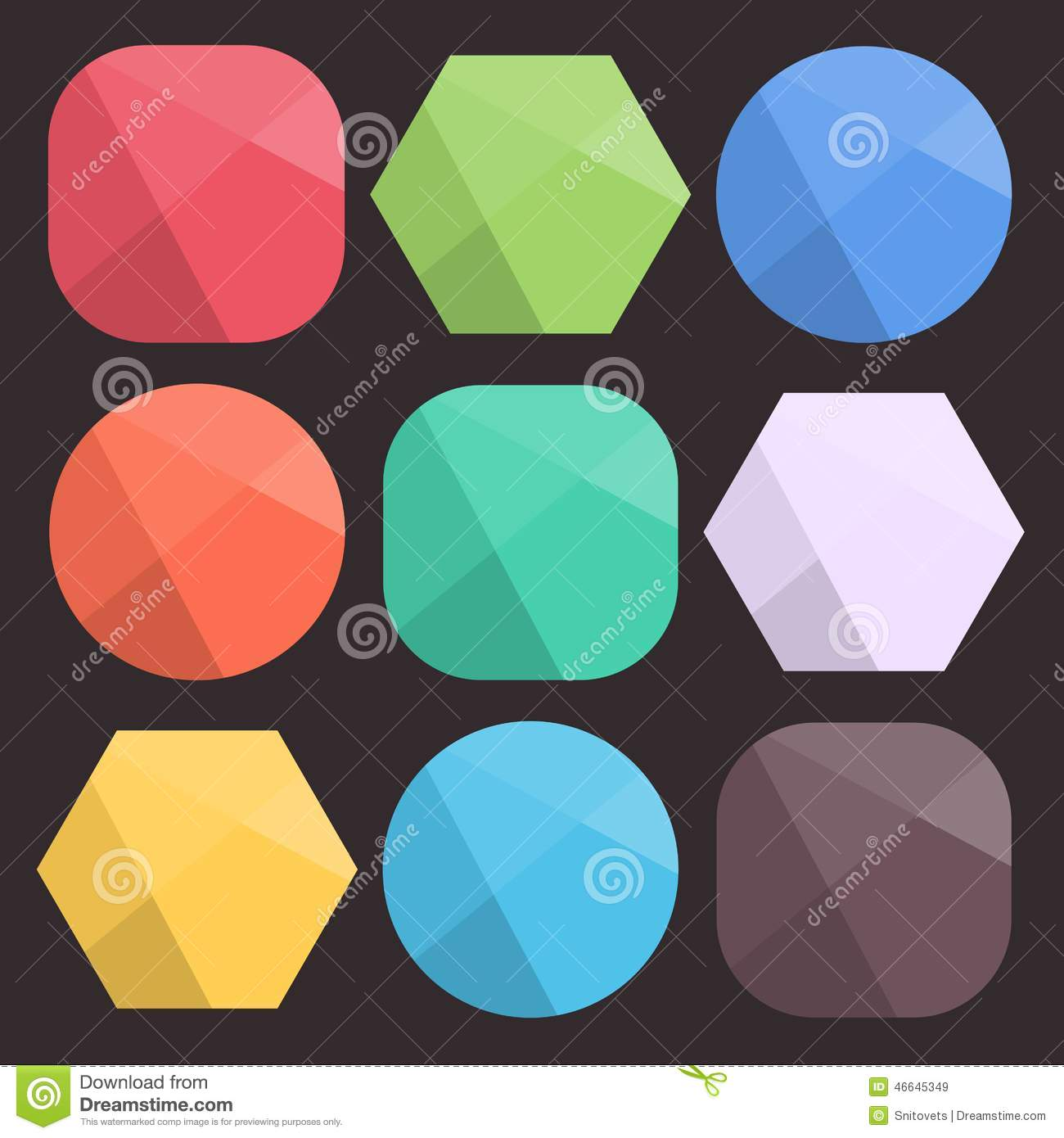 Flat Background Faceted Shapes For Icons. Simple Colorful Diamond ...