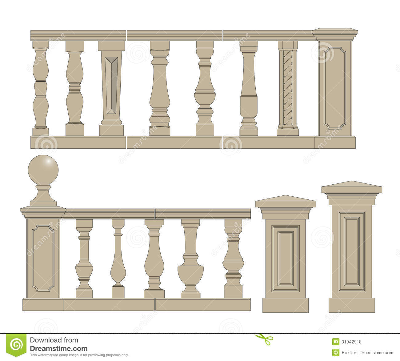 Flat balusters set stock vector image of building for Balustrade bois exterieur