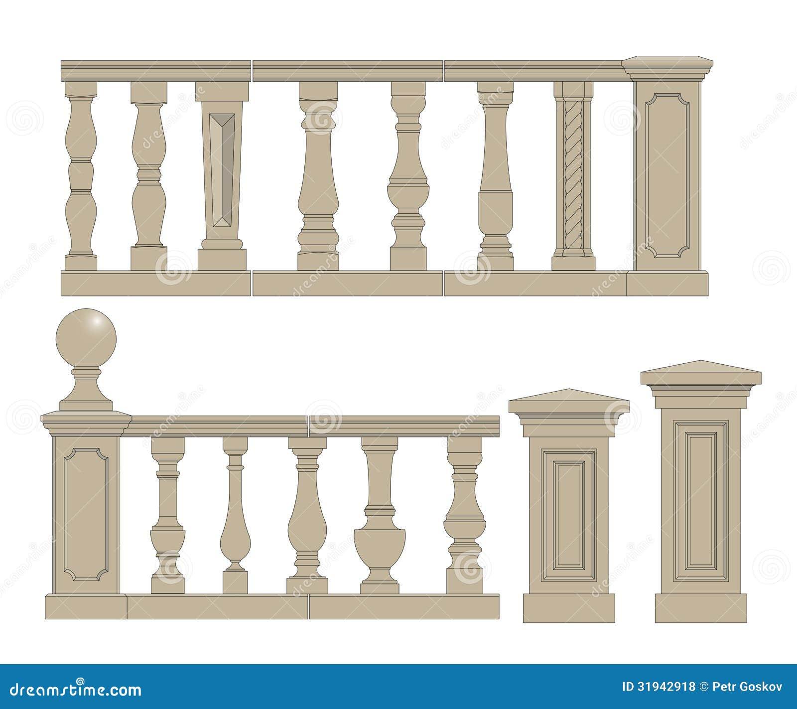flat balusters set stock vector image of building baluster 31942918. Black Bedroom Furniture Sets. Home Design Ideas