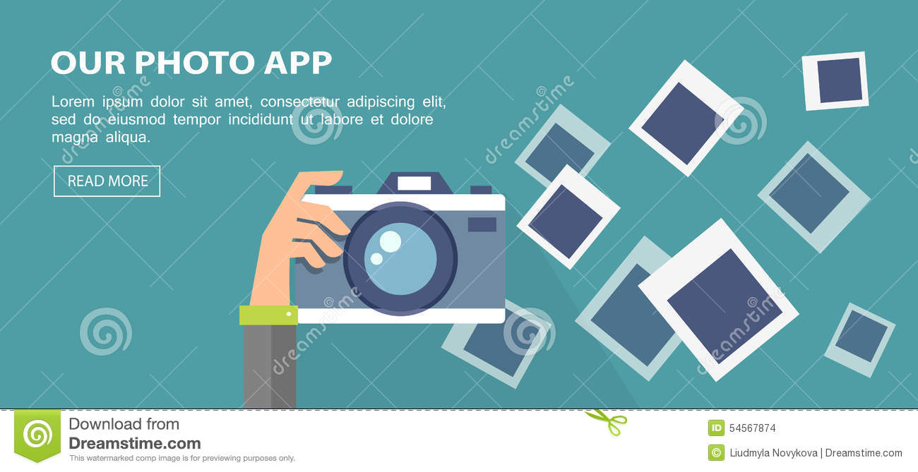 Flat Banner. Illustration Of Hand Holding Camera With Frames. Stock ...