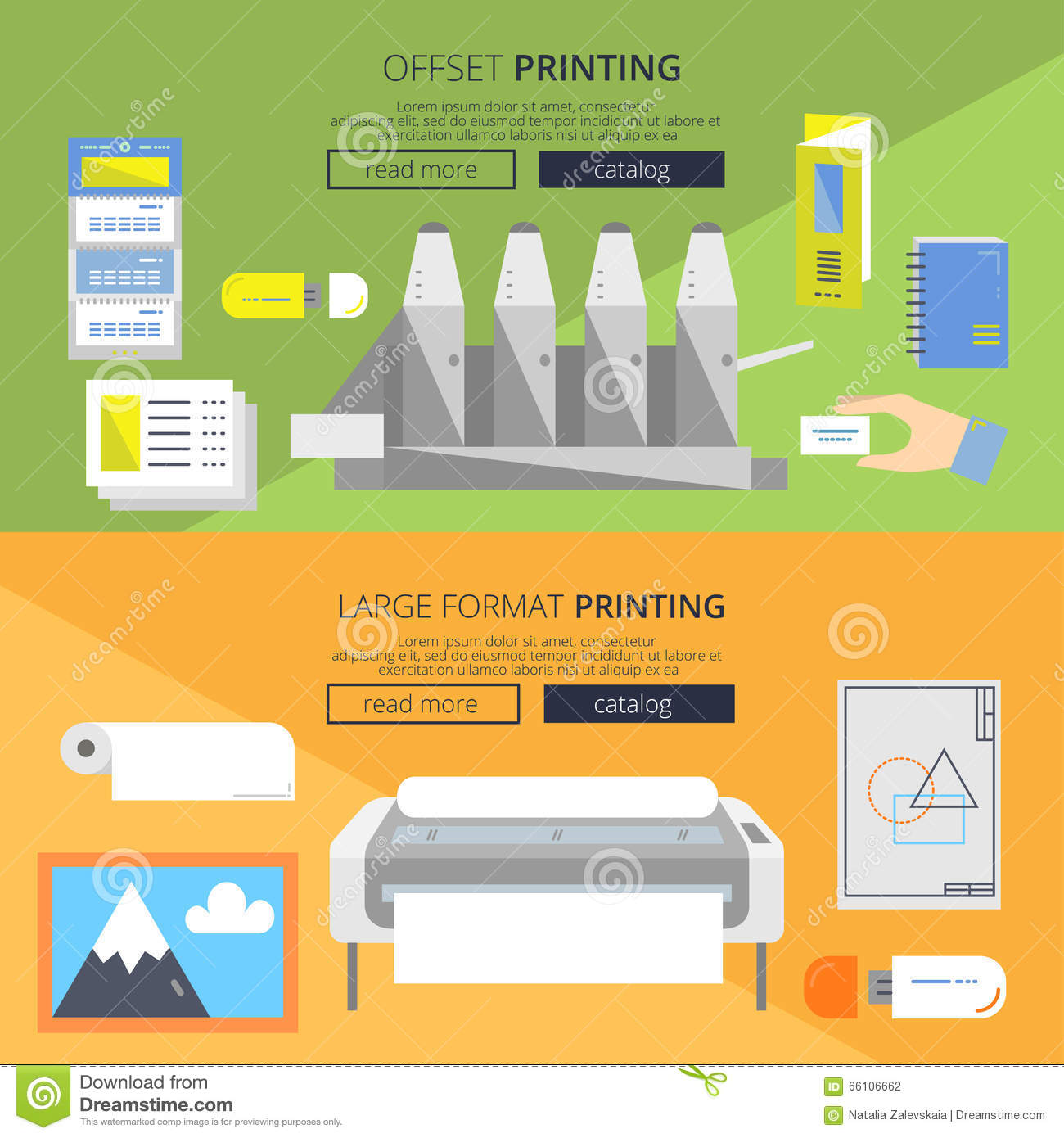 Flat Banners Offset Stock Vector Illustration Of Background 66106662 Printing Diagram Press