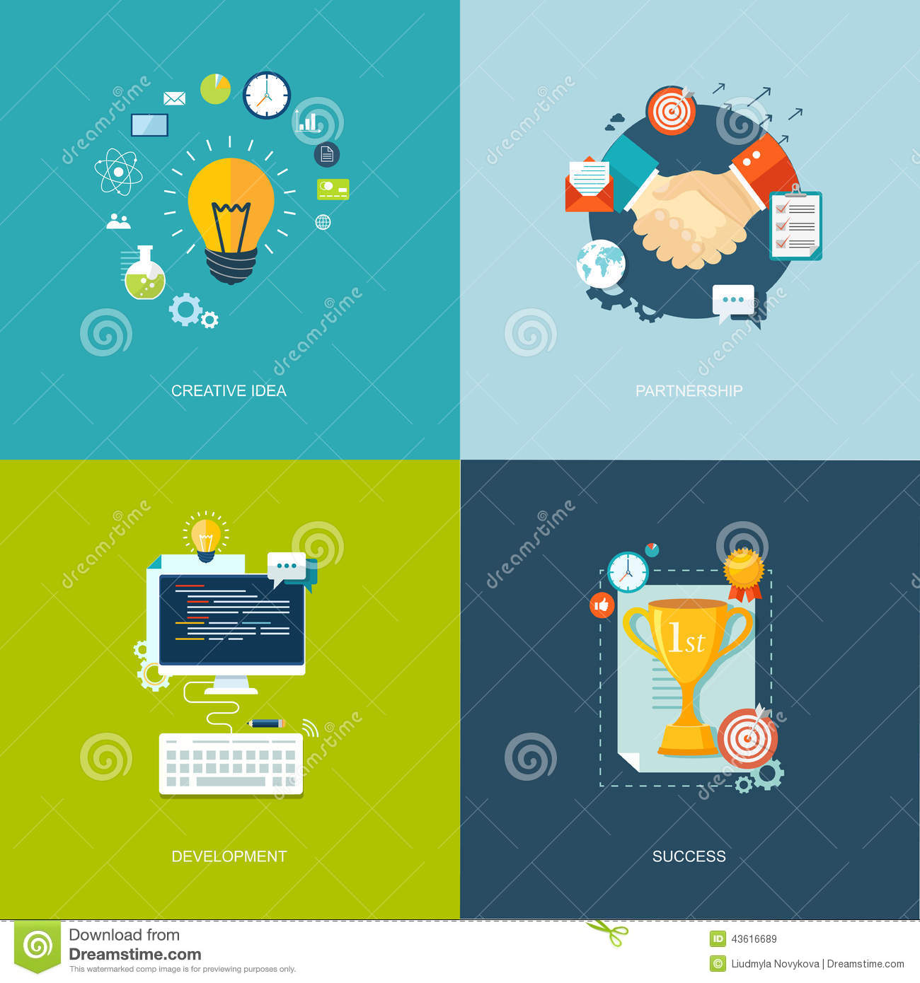 Flat Banners Set Creative Idea Partnership Development Succe Flat Banners Set Creative Idea Partnership Development Succe Research Time Management Success Illustrations Eps  Stock Illustration Flat Banners Set Creative Idea Partnership Development Succe Research Time Management Success Illustrations Eps Image
