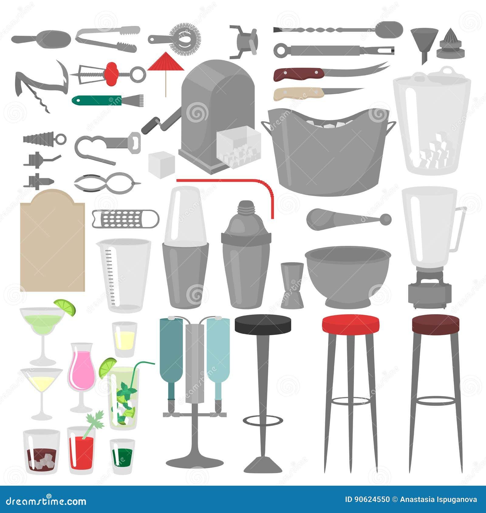 Flat Barman Mixing, Opening And Garnishing Tools  Bartender