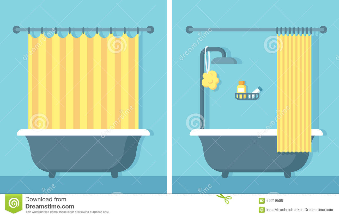 Flat Bathroom Interior Stock Vector